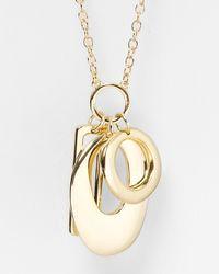 """T Tahari - Metallic Essential Multi Charm Pendant Necklace, 34"""" - Lyst"""