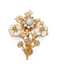 Alexander McQueen | Metallic Skull Beaded Flower Brooch | Lyst