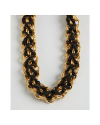 Ben-Amun | Metallic Black and Gold Toggle Woven Choker Necklace | Lyst