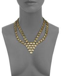 Giles & Brother - Metallic Textured Hexagon Bib Necklace - Lyst
