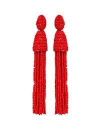 Oscar de la Renta - Red Long Tassel Earrings - Lyst