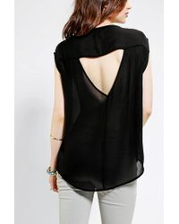 Urban Outfitters - Black Ecote Silky Embellished Openback Top - Lyst
