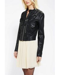 Urban Outfitters - Black Members Only Zip Detail Vegan Leather Moto Jacket - Lyst