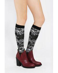 Urban Outfitters - Black Spider Web Kneehigh Socks - Lyst