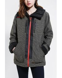 Urban Outfitters | Black Stussy Check Sherpa Trim Jacket | Lyst