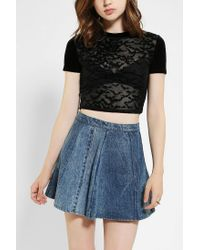 Urban Outfitters | Black Silence Noise Batty Sheer Cropped Tee | Lyst