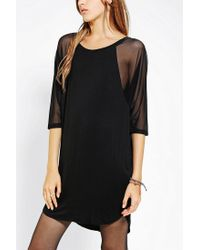 Urban Outfitters | Black Silence Noise Sheer Dolmansleeve Tee Dress | Lyst