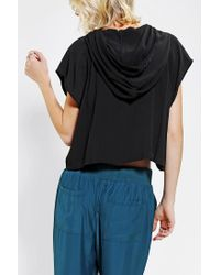 Urban Outfitters | Black Silence Noise Silky Hooded Cropped Top | Lyst