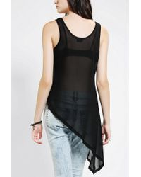 Urban Outfitters - Black Sparkle Fade Asymmetrical Mesh Tank Top - Lyst