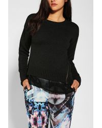 Urban Outfitters | Black Sparkle Fade Chiffon layer Zip Sweater | Lyst