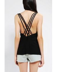Urban Outfitters | Black Sparkle Fade Crisscross Back Tank Top | Lyst