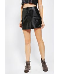Urban Outfitters | Black Sparkle Fade Vegan Leather Cargo Skirt | Lyst