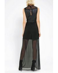 Urban Outfitters | Black Sparkle Fade Vegan Leather Lace Maxi Dress | Lyst