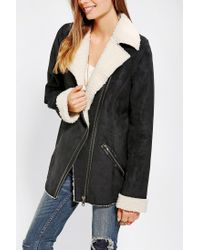 Urban Outfitters - Black Staring At Stars Oversized Sherpa Moto Jacket - Lyst