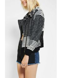 Urban Outfitters - Black Urban Renewal Moto Sweater Jacket - Lyst