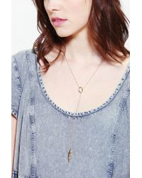 Urban Outfitters - Metallic Feather Lariat Necklace - Lyst