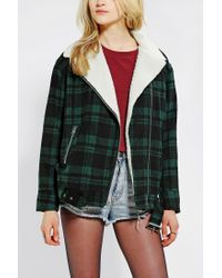 Urban Outfitters | Green Bycorpus Oversized Plaid Moto Jacket | Lyst
