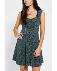 Urban Outfitters | Green Silence Noise Textured Open-back Skater Dress | Lyst