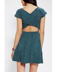 Urban Outfitters - Green Sparkle Fade Wrapback Skater Dress - Lyst