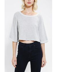 Urban Outfitters | Gray Bdg Rawedge Pullover Cropped Sweatshirt | Lyst
