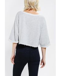 Urban Outfitters - Gray Bdg Rawedge Pullover Cropped Sweatshirt - Lyst