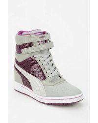 Urban Outfitters - Gray Puma Sky Wedge Shine Hidden Wedge Hightop Sneaker - Lyst