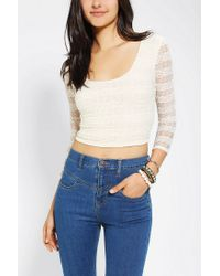 Urban Outfitters - White Pins and Needles Bodycon Cropped Top - Lyst