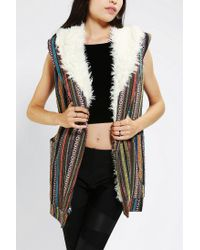 Urban Outfitters | Gray Mink Pink Sherpa Lined Blanket Vest | Lyst