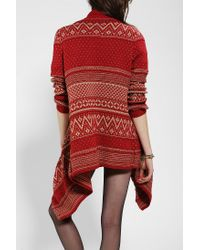 Urban Outfitters | Red Hazel Holiday Intarsia Openfront Cardigan | Lyst