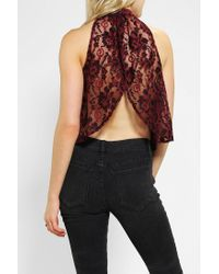 Urban Outfitters | Red Pins and Needles Lace Open Back Top | Lyst