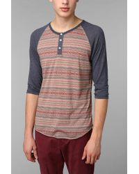 Urban Outfitters | Blue Alternative 2tone Patterned Henley for Men | Lyst
