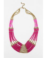Urban Outfitters | Pink Fiji Beaded Bib Necklace | Lyst