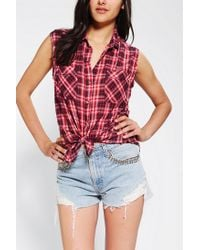 Urban Outfitters | Red Bdg Sleeveless Printed Tiefront Shirt | Lyst