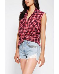 Urban Outfitters - Red Bdg Sleeveless Printed Tiefront Shirt - Lyst
