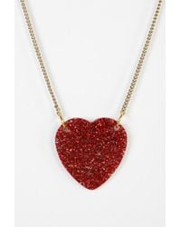 Urban Outfitters - Red Glitter Heart Necklace - Lyst