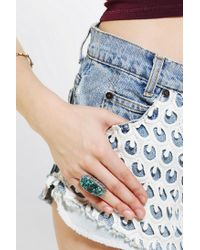 Urban Outfitters - Green Adorn By Sarah Lewis Large Turquoise Filigree Ring - Lyst