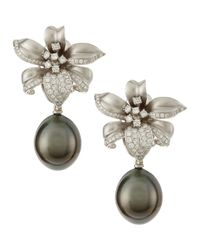 Assael | Gray 18k Gold Diamond Flower Tahitian Pearl Earrings | Lyst
