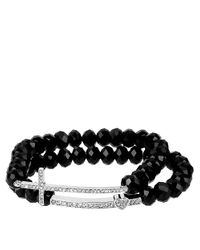 Betsey Johnson | Black Silvertone Crystal Cross Faceted Bead Stretch Bracelet Set | Lyst