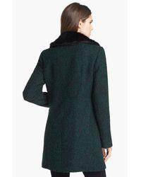 Ivanka Trump | Green Detachable Faux Fur Collar Tweed Coat | Lyst