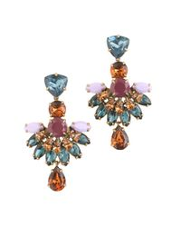 J.Crew | Multicolor Jeweled Fan Drop Earrings | Lyst