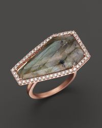 Meira T - Pink Diamond And Labradorite Ring In 14K Rose Gold - Lyst