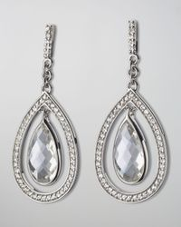 Monica Rich Kosann | Blue Sapphire-Trim Rock Crystal Teardrop Earrings | Lyst