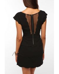 Urban Outfitters | Black Cooperative Scallop Peplum Dress | Lyst