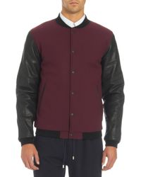 Basco - Purple Leather Sleeves Varsity Jacket for Men - Lyst