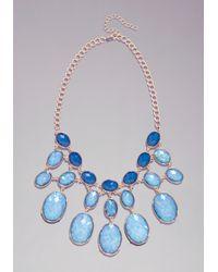 Bebe - Blue Hologram Bauble Necklace - Lyst
