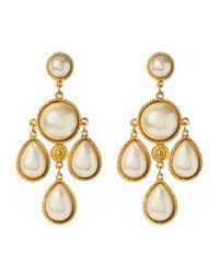 Ben-Amun | Metallic Pearl Chandelier Earrings | Lyst
