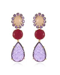 Bounkit | Red Amethyst Rose Quartz Ruby Convertible Earrings | Lyst