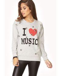 Forever 21 - White I Love Music Sweatshirt - Lyst