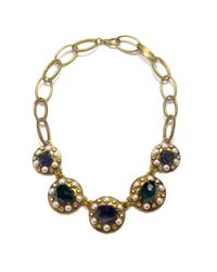 Gerard Yosca | Metallic Blue and Pearl Statement Necklace | Lyst