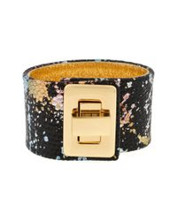 Kara Ross | Black Splatter Cuff with Turn Lock | Lyst